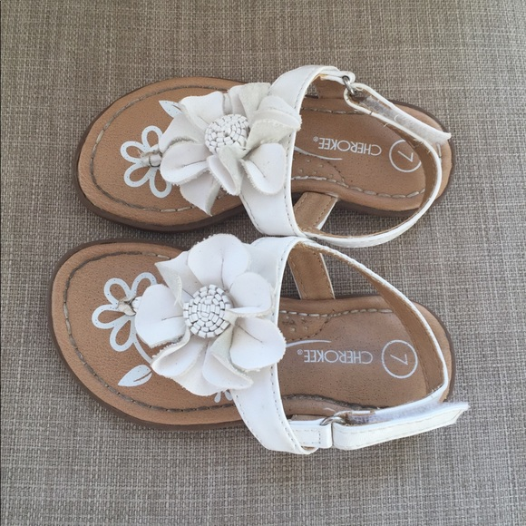 Cherokee shoes toddler girls size 7 offwhite flower sandals poshmark toddler girls size 7 off white flower sandals mightylinksfo
